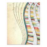 Cool awesome wavy piano retro colours antique 11 cm x 14 cm invitation card