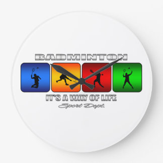 Cool Badminton It Is A Way Of Life Large Clock