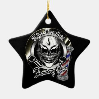 Cool Barber Skull Christmas Ornament