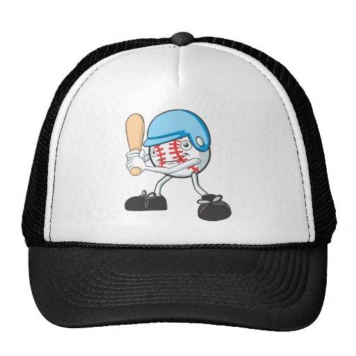 Cool Baseball Batter Cartoon Mesh Hat