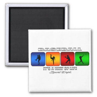 Cool Baseball Square Magnet