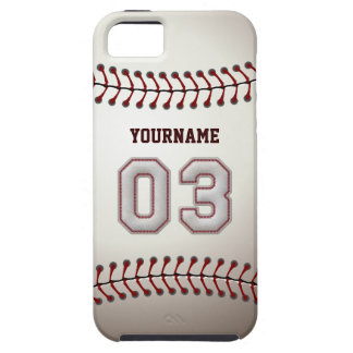 Cool Baseball Stitches - Custom Number 03 and Name iPhone 5 Case