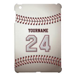 Cool Baseball Stitches - Custom Number 24 and Name iPad Mini Cases