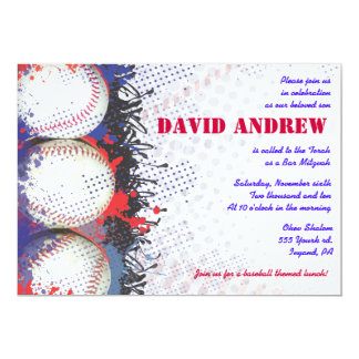 COOL BASEBALL Themed Bar Bat Mitzvah Invitation
