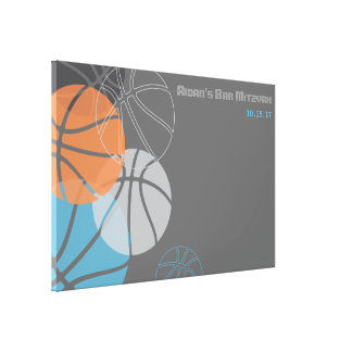 COOL BASKETBALL Bar Mitzvah Sign-In Board Canvas Print
