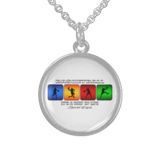 Cool Basketball It Is A Way Of Life Sterling Silver Necklace