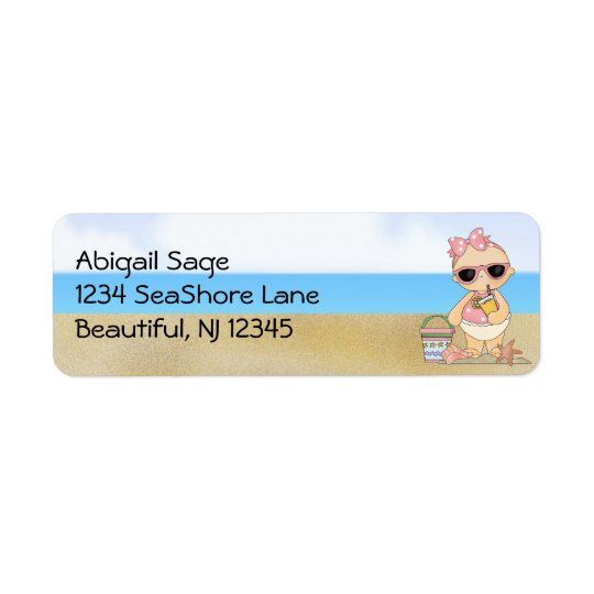 Cool Beach Baby Girl Address Return Address Label