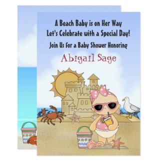 Cool Beach Baby Girls Baby Shower Invitation