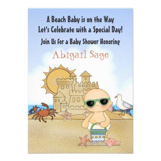Cool Beach Baby Shower Invitation Neutral
