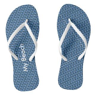 Cool Beach  Blue Abstract Art Thongs