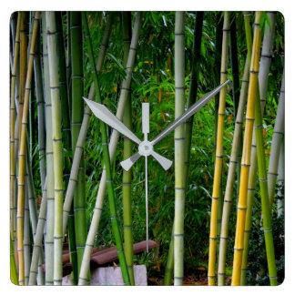 Cool Beautiful Bamboo Grove Green Yellow & Gray Square Wall Clock