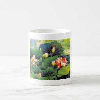 Cool beautiful chinese lotus flower green leaf art classic white coffee mug