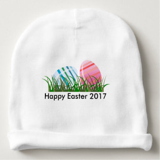 Cool Beautiful colorful eggs happy first easter Baby Beanie