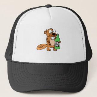 Cool Beaver Drinking Beer Cartoon Trucker Hat