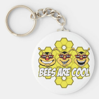 Cool Bees Basic Round Button Key Ring