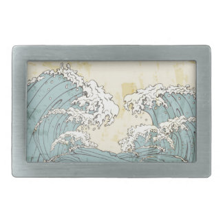 Cool big blue ocean waves image belt buckle