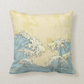 Cool big blue ocean waves image throw pillows