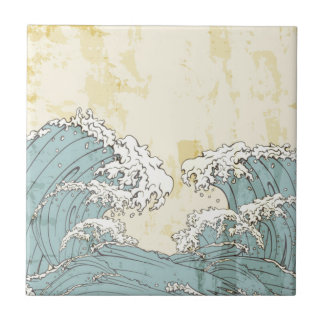 Cool big blue ocean waves image small square tile