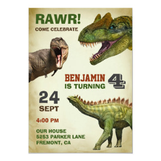Cool Big Dinosaurs Kids Birthday Party Invitation