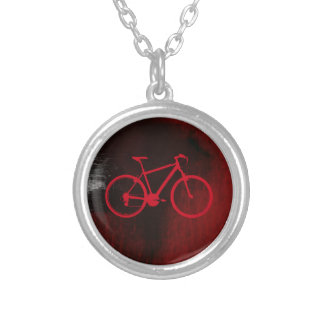 cool bike art silver plated necklace