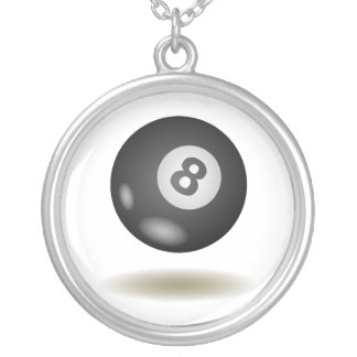 Cool Billiard Emblem Silver Plated Necklace