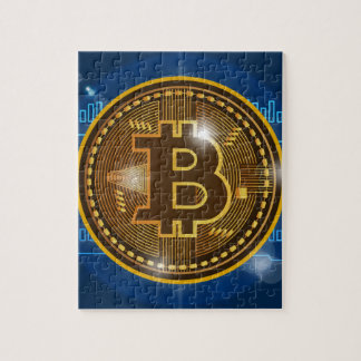 Cool Bitcoin logo and graph Design Jigsaw Puzzle