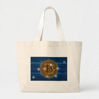 Cool Bitcoin logo and graph Design Large Tote Bag