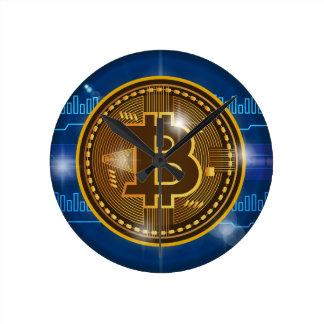 Cool Bitcoin logo and graph Design Round Clock