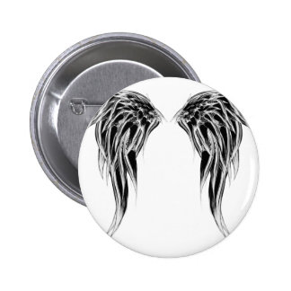 Cool Black and White Angel Wings 6 Cm Round Badge
