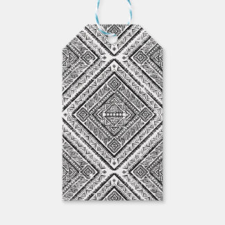 Cool Black and White Aztec Tribal Pattern Gift Tags