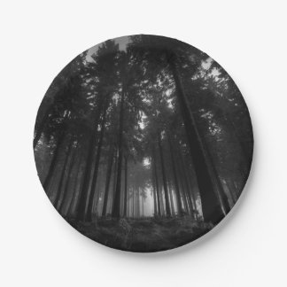 Cool Black and White Forest Fog Silence Gifts 7 Inch Paper Plate