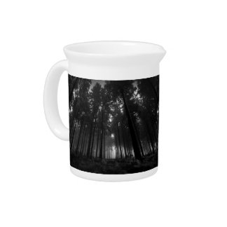 Cool Black and White Forest Fog Silence Gifts Beverage Pitcher