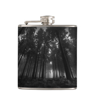 Cool Black and White Forest Fog Silence Gifts Hip Flask