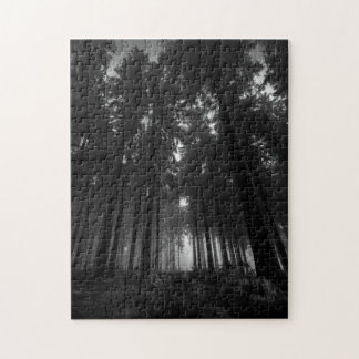 Cool Black and White Forest Fog Silence Gifts Puzzle