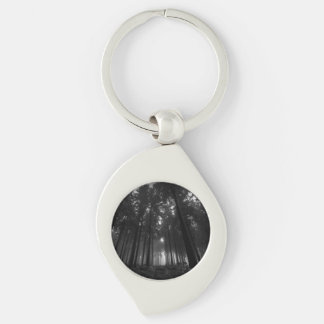 Cool Black and White Forest Fog Silence Gifts Silver-Colored Swirl Key Ring