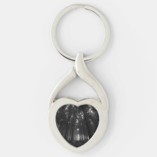 Cool Black and White Forest Fog Silence Gifts Silver-Colored Twisted Heart Key Ring