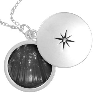 Cool Black and White Forest Fog Silence Gifts Silver Plated Necklace