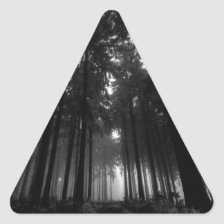 Cool Black and White Forest Fog Silence Gifts Triangle Sticker