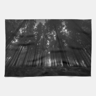 Cool Black and White Forest Fog Silence Gifts Tea Towel