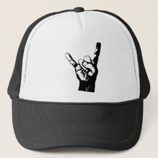 Cool black and white rock fingers, trucker hat