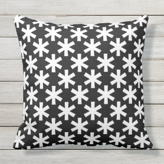 Cool Black and White Snowflake Star Pattern Pillow