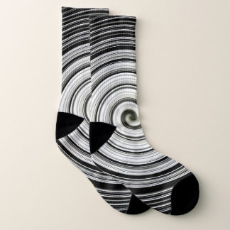Cool black and white spiral pattern socks
