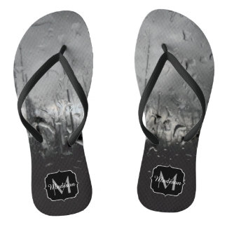 Cool black and white water drops Monogram Thongs
