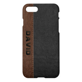 Cool Black & Brown Vintage Faux Leather iPhone 8/7 Case