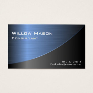 Cool Black Brushed Blue Steel Effect- Bus Card