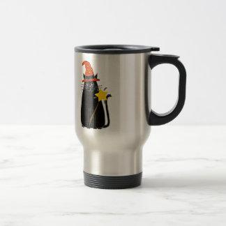 Cool Black Cat in Wizard Hat Halloween Art Travel Mug
