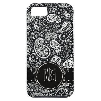 Cool Black Country Paisley with Swirly Name Tag Case For The iPhone 5