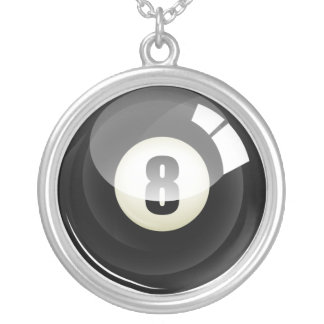 Cool Black Eight Ball Billards Silver Plated Necklace