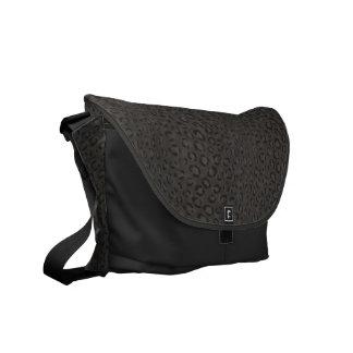Cool black grey cheetah print monogram messenger bags