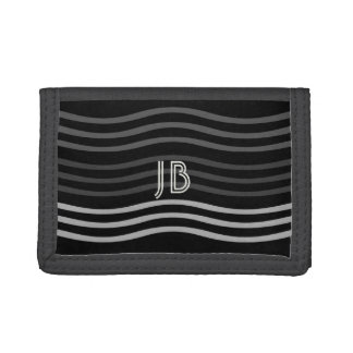 Cool Black Grey Waves Add Initials Wallet